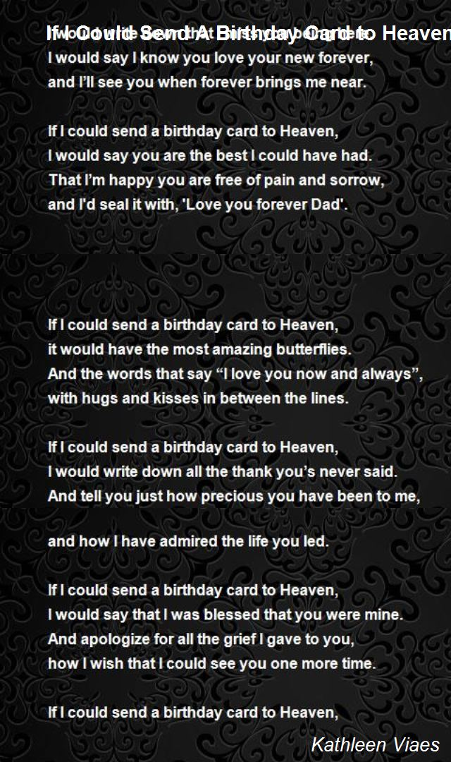 birthday wishes from heaven poem ; if-i-could-send-a-birthday-card-to-heaven