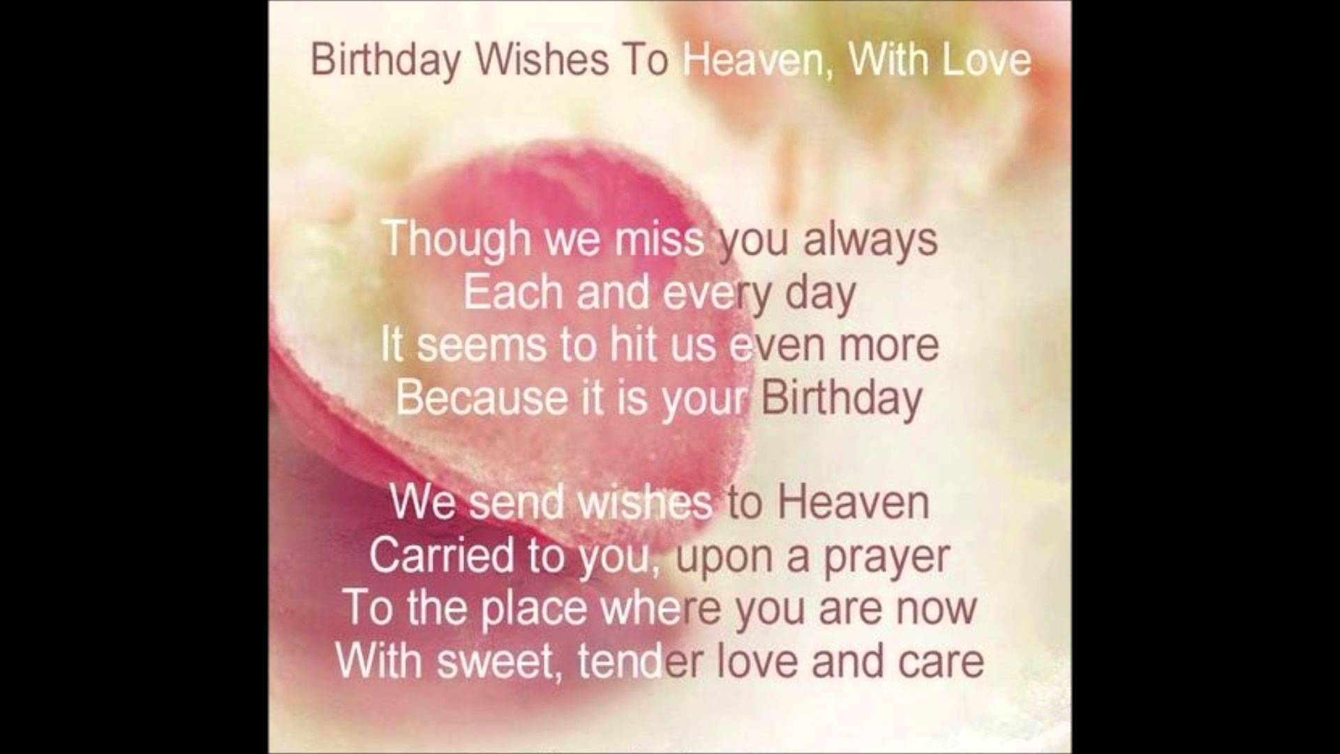 birthday wishes from heaven poem ; maxresdefault