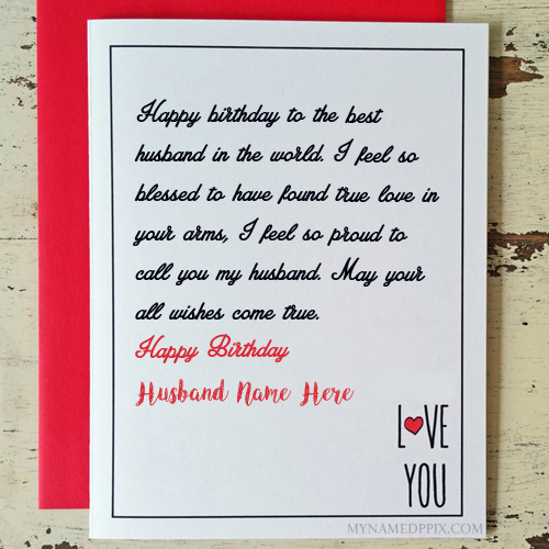 birthday wishes greeting card with name ; Husband-Birthday-Wishes-Greeting-Name-Card-Create-Online