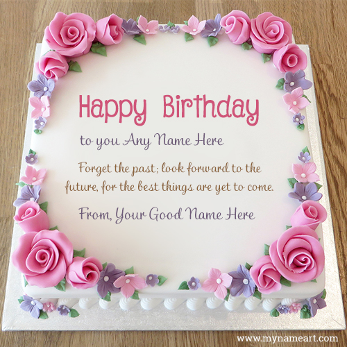 birthday wishes greeting card with name ; photo-of-birthday-cake-with-name