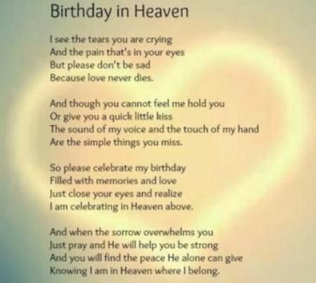 birthday wishes in heaven poem ; cf84a8517794968f60e24dcf6f7a9575