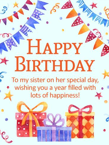 birthday wishes my sister card ; b_day_fsi32-6541a4be0383d0170e737113b2569af2