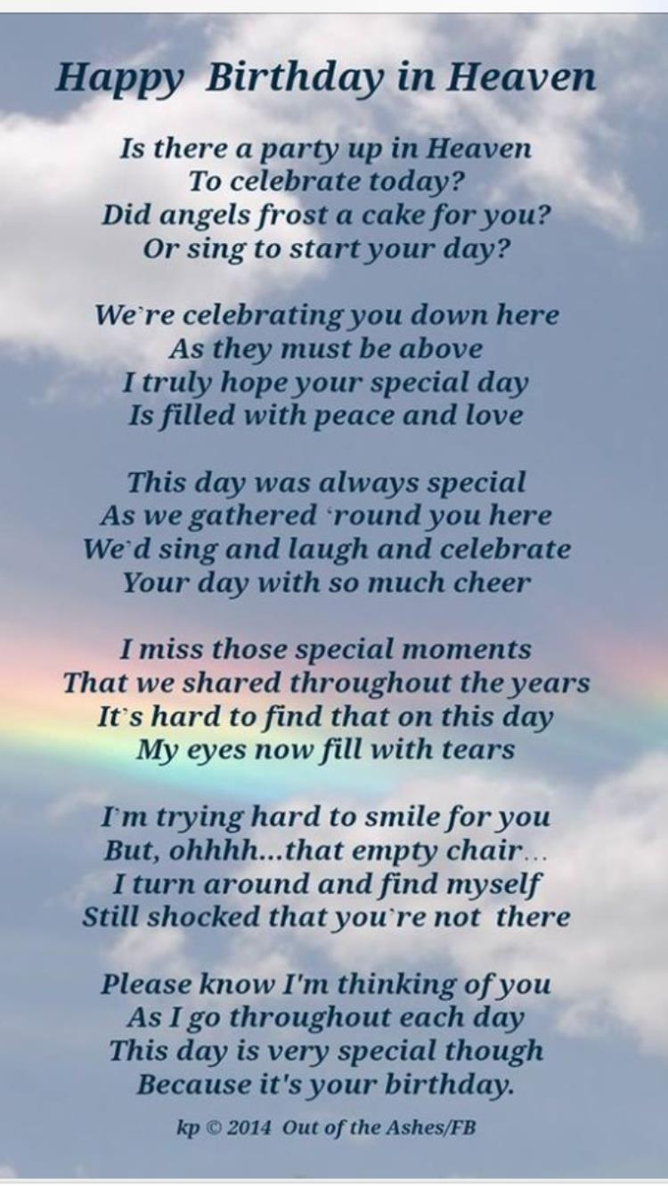 birthday wishes sent from heaven poem ; 10de6263a88d9c5456c5ea0ede9b0c6c
