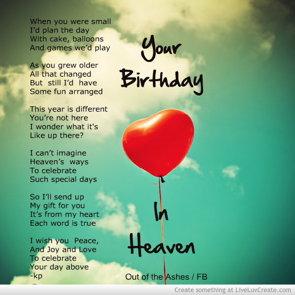birthday wishes sent from heaven poem ; c1bd806b75cff247c1dbf42a0adea93c