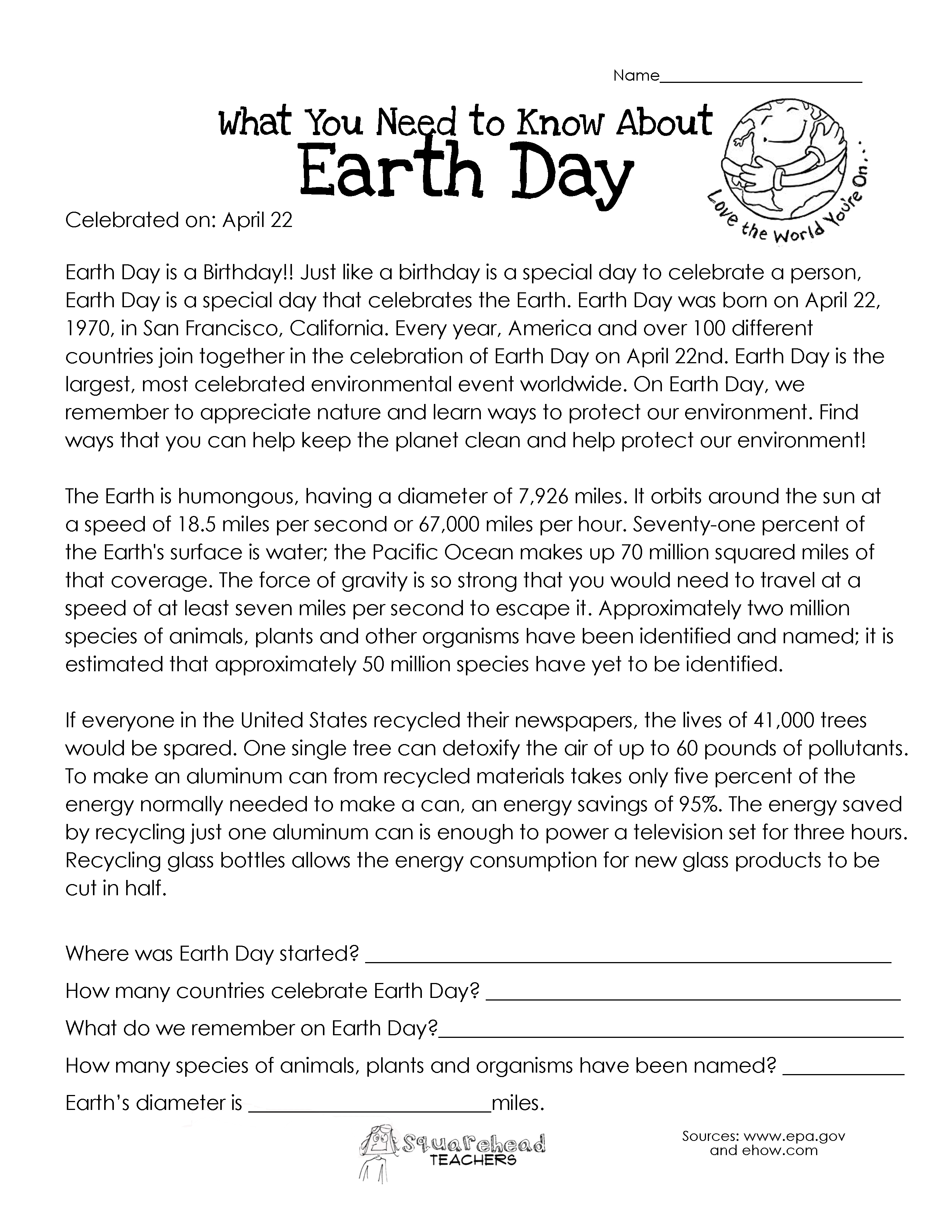 birthday worksheets first grade ; earth-day1