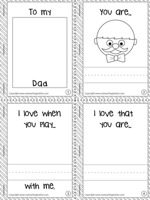 birthday worksheets for kindergarten ; Fathers-Day-Minibook-Page1
