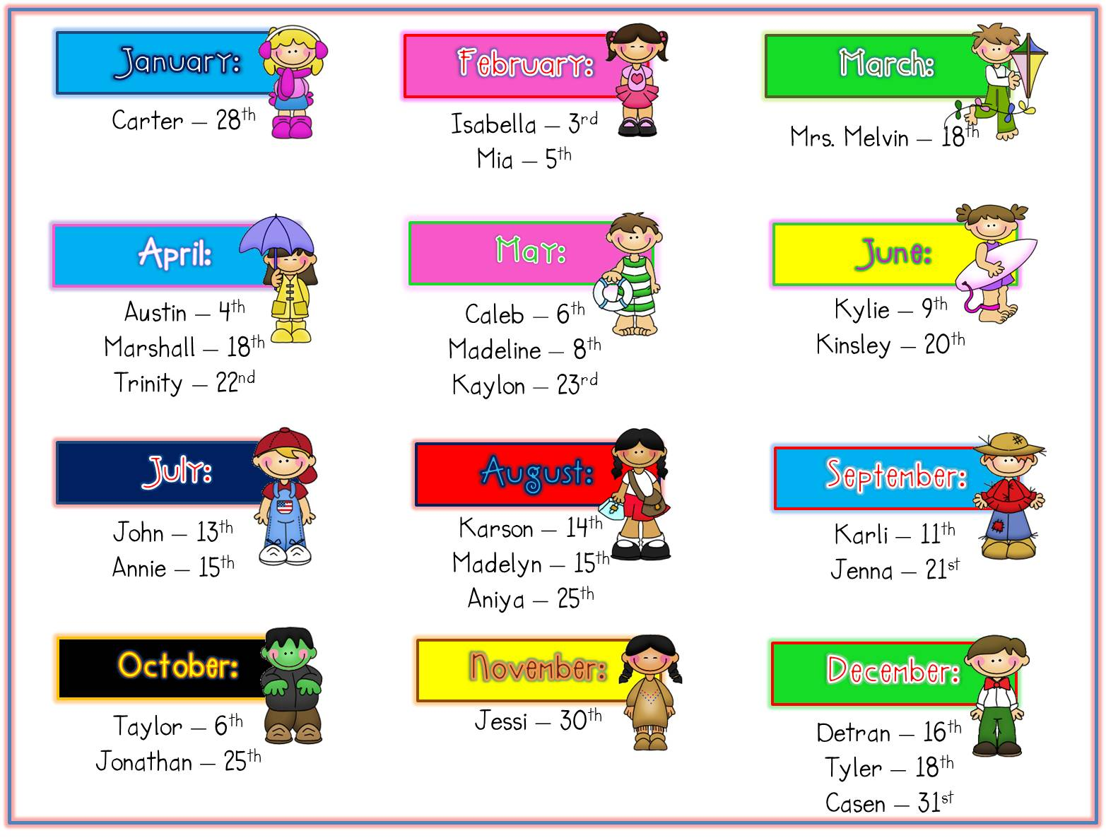 birthdays of the month clipart ; 11+bdays+for+webpage+with+names