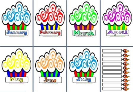 birthdays of the month clipart ; birthdaycupcakes
