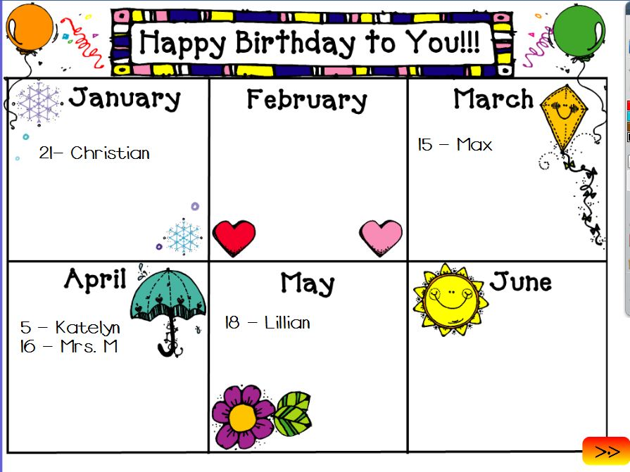 birthdays of the month clipart ; calendar-clipart-birthday-calendar-9
