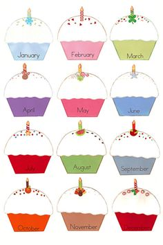birthdays of the month clipart ; cupcake-clipart-monthly-3