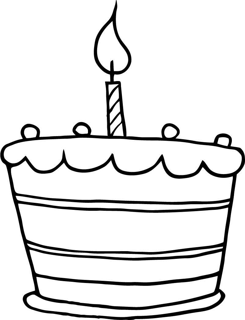 blank birthday cake coloring page ; printable-birthday-cake-one-candle-working-sheet-for-kids