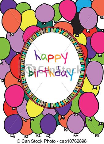 border birthday card ; birthday-card-with-colored-balloons-drawing_csp10762898