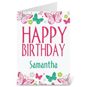 border birthday card ; butterfly-border-personalized-birthday-card