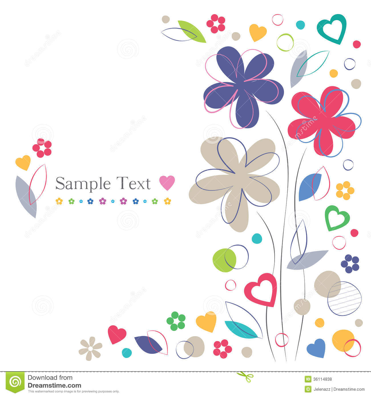 border birthday card ; flowers-hearts-greeting-card-border-colorful-frame-white-background-36114838