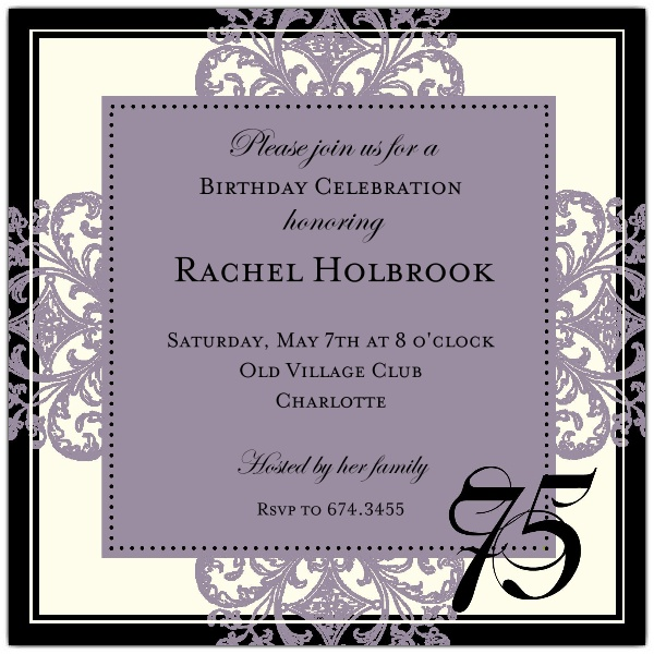 border designs for birthday invitations ; Decorative-Border-Eggplant-75th-Birthday-Invitations-p-603-55-672-75-z