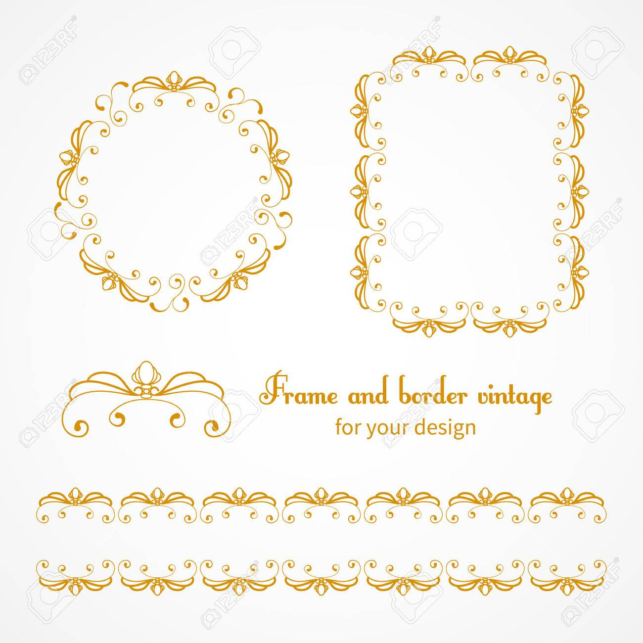 borders for invitations birthday ; 41835113-set-of-vintage-frames-and-borders-with-vignettes-in-victorian-style-ornate-element-for-design-orname