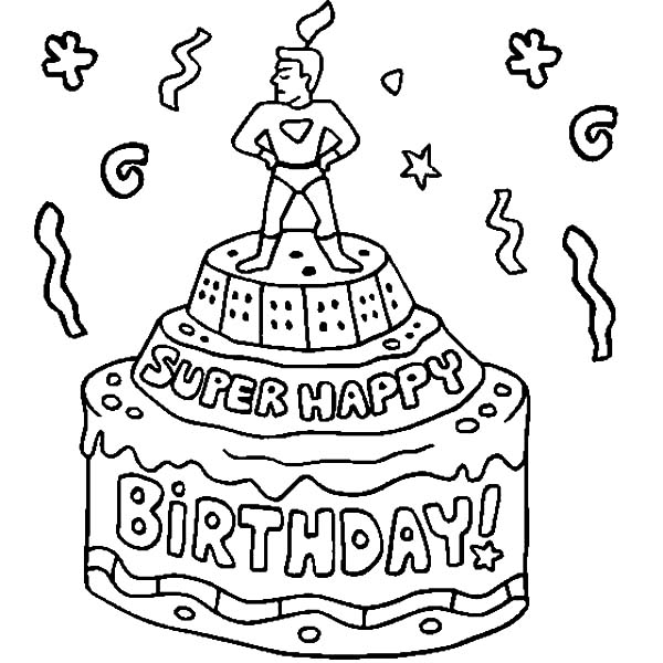 boy birthday coloring pages ; Super-Hero-Figure-on-Birthday-Cake-Coloring-Pages