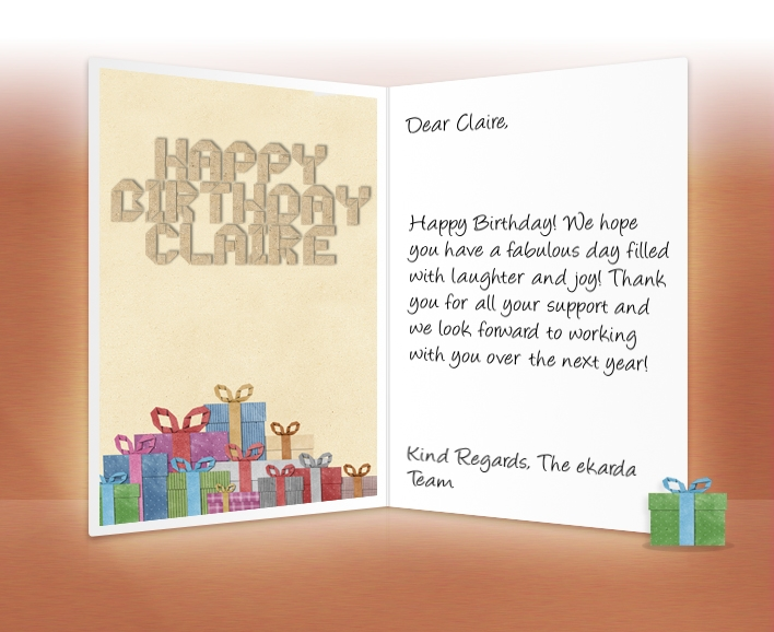 business birthday greeting card messages ; Paper-Presents