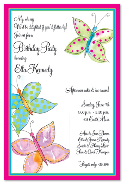 butterfly themed birthday invitation ; 15781