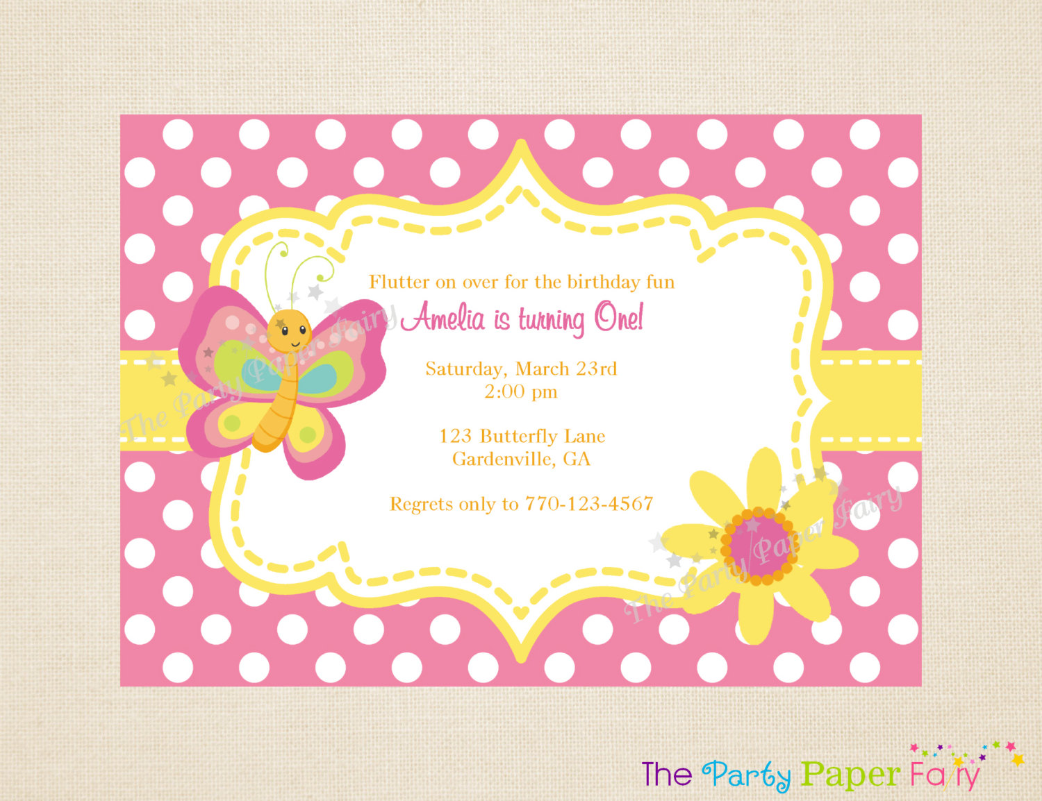 butterfly themed birthday invitation ; b8dad3a64f63c6d4febe3d1257eaaa31
