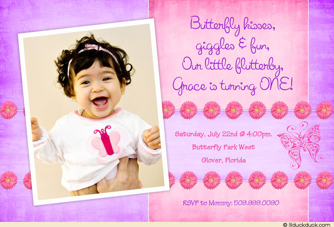 butterfly themed birthday invitation ; flowers-butterflies-pink-lavender-1-photo-invitation