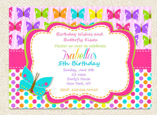 butterfly themed birthday invitation ; il_570xN