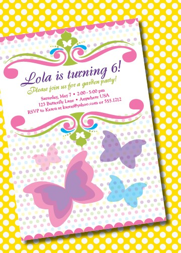Butterfly Themed Birthday Invitation Wording Invitations Mixed With
