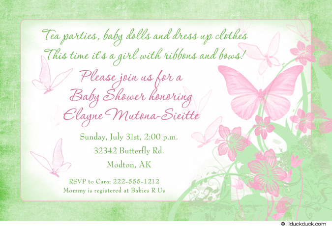 butterfly themed birthday invitation wording ; butterfly-kisses-baby-shower-invitation-seafoam-green-pink