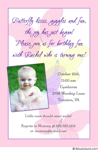 Butterfly Themed Birthday Invitation Wording Pastel Pink