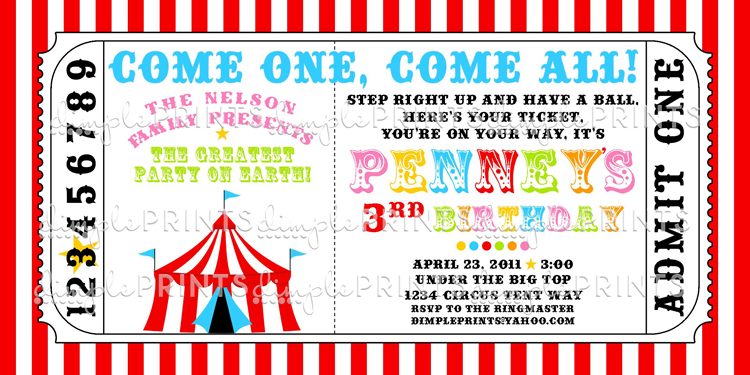carnival themed birthday party invitation templates ; ticket-party-invitations-printable-circus-tent-ticket-printable-invitation-dimple-prints-shop-printable