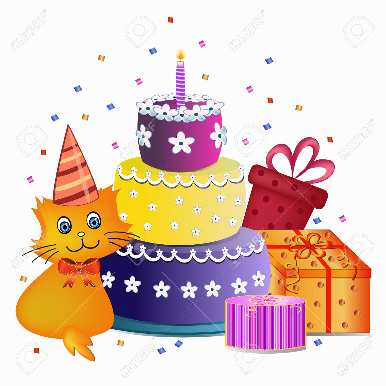 cat birthday clipart ; 36343051-colorful-happy-birthday-cake-cat-and-present-illustration