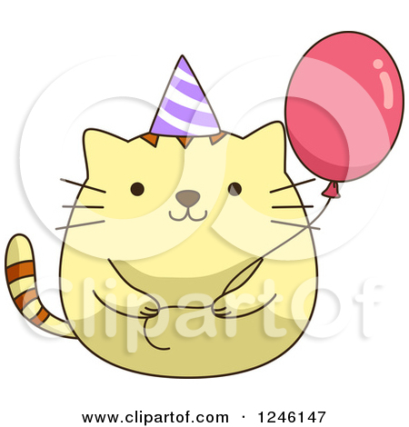 cat birthday clipart ; cat-birthday-clipart-cat-clipart-party-4