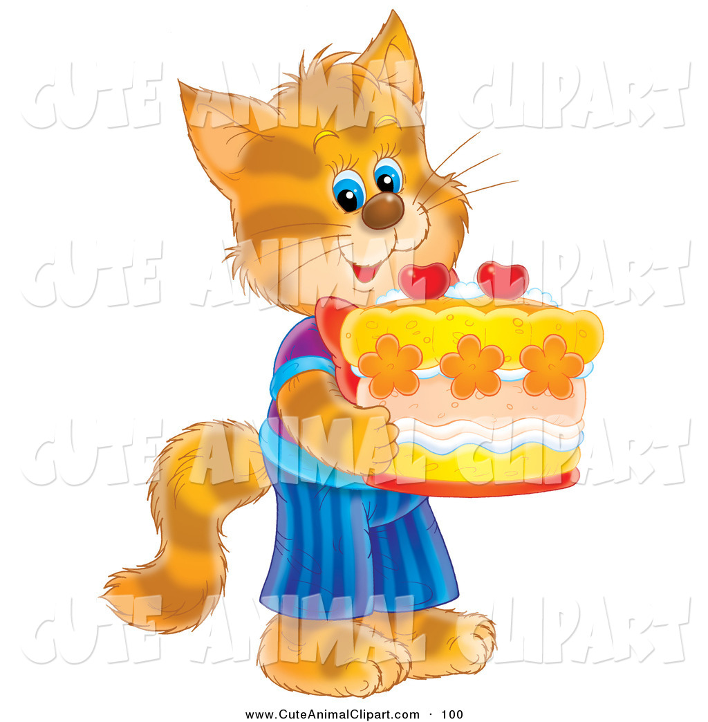 cat birthday clipart ; clip-art-of-a-cute-striped-orange-kitty-cat-in-clothes-standing-on-its-hind-legs-and-holding-a-birthday-cake-by-alex-bannykh-100