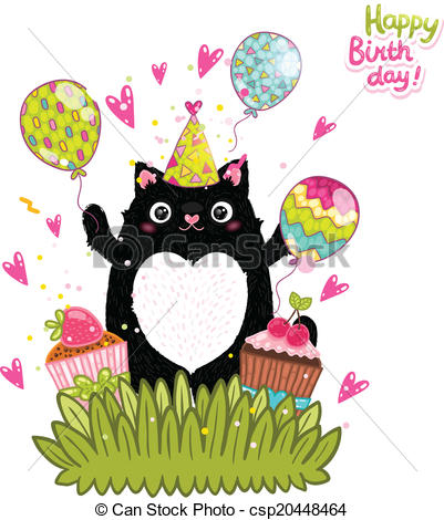 cat birthday clipart ; happy-birthday-card-background-with-a-clip-art-vector_csp20448464