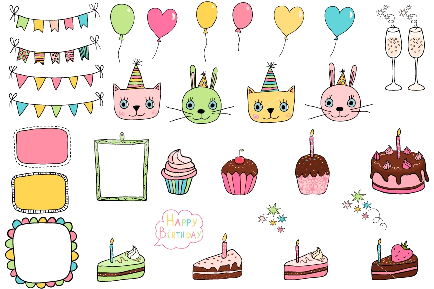cat birthday clipart ; party-clipart-cat-18