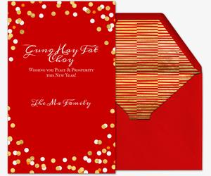 chinese birthday invitations with lucky red color ; lunar-confetti_lunarnewyear