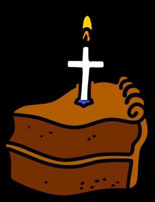christian birthday clipart ; cross-candle-cake