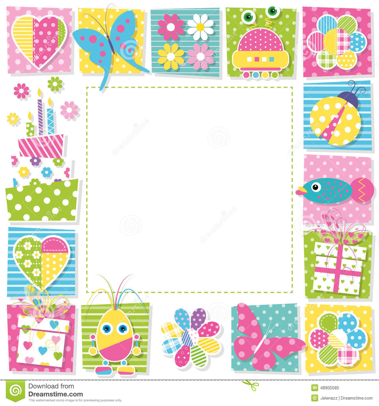 clipart birthday borders and frames ; cute-happy-birthday-border-illustration-butterflies-hearts-flowers-ladybug-robots-presents-cake-fish-colorful-square-48905585