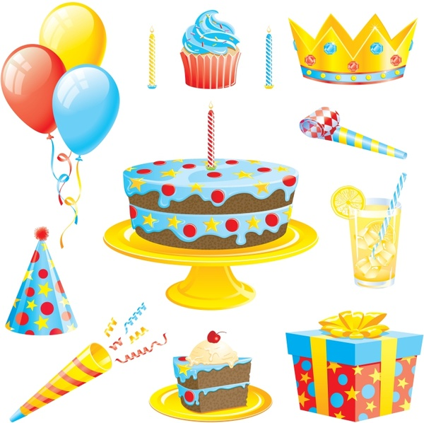 clipart birthday cake and balloons ; birthday_cake_with_balloons_vector_287429