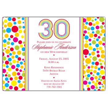 colorful birthday invitations ; Colorful-Dots-30th-Birthday-Invitations-p-610-75-150R-d