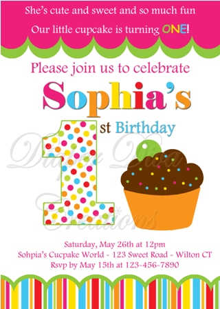 colorful birthday invitations ; ColorfulLittleCupcakeInvitation