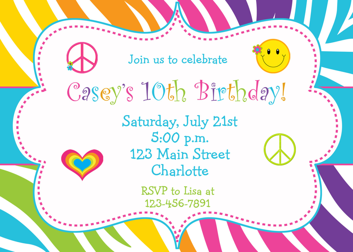colorful birthday invitations ; Fun-Birthday-Party-Invitations