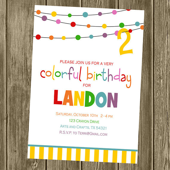 colorful birthday invitations ; il_570xN