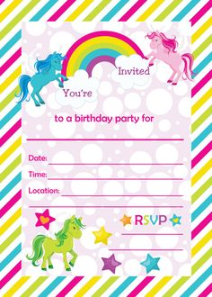colorful birthday invitations ; unicorn-birthday-invitations-printable-And-the-model-elegant-colors-Custom-Invitations-minimalis-ideas-14