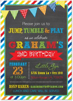 colorful birthday party invitations ; 5b1489ae8d53332ae55f1519b8bbbacf--bounce-house-birthday-my-gym-birthday-party