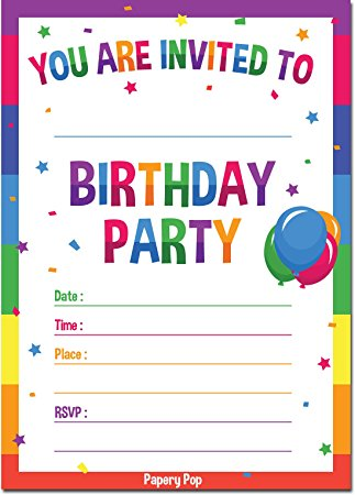 colorful birthday party invitations ; 71wOKF%252BaZ5L
