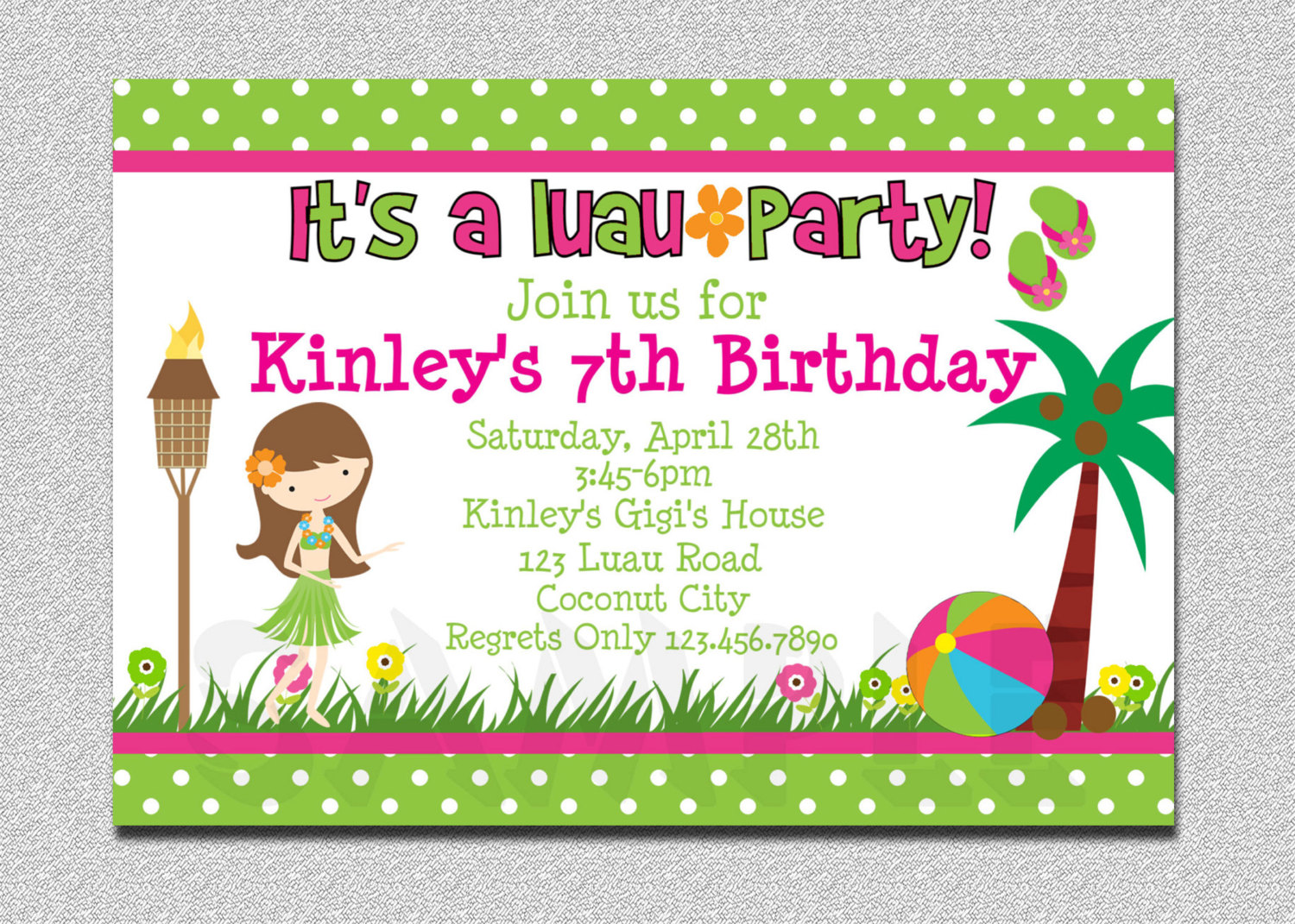 colorful birthday party invitations ; Luau-Birthday-Invitations