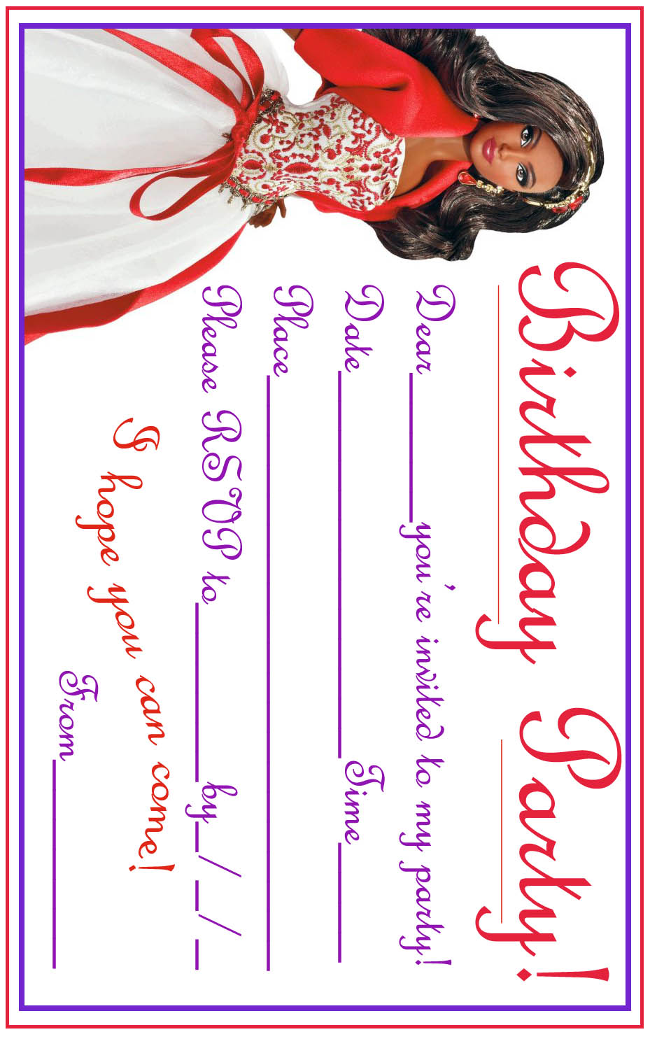 coloring birthday invitations ; african+american+black+barbie+party+invite