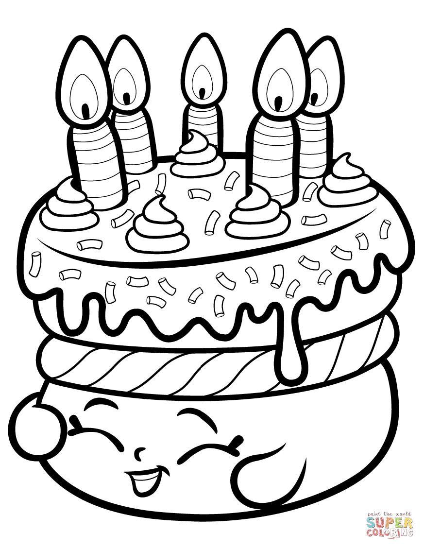 coloring book birthday cake ; cake-wishes-shopkin-coloring-page