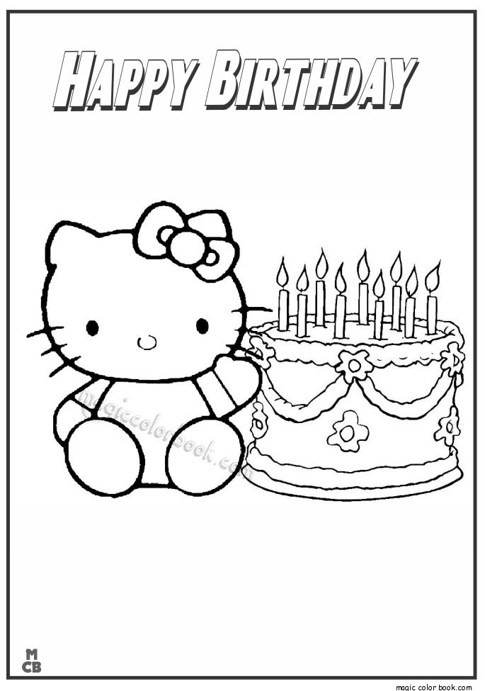 coloring book birthday card ; Hello-Kitty-happy-birthday-Coloring-Pages